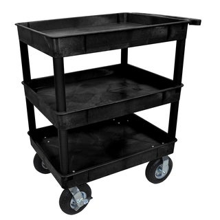 Luxor TC111P8-B Black 3-tub Cart with 8-inch Pneumatic Casters