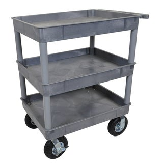 Luxor TC111P8-G Gray 3-tub Cart with 8-inch Pneumatic Casters