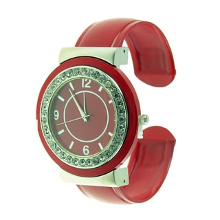 Women's Jumbo Red and Silver Metal Cuff Watch with Round Crystal Dial