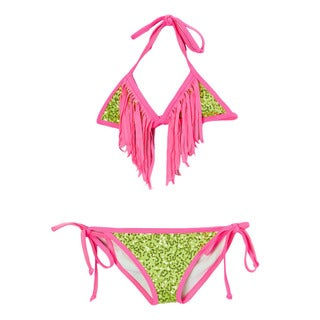 Dippin' Daisy's Girl's Lime Sequin Triangle Bikini with Pink Fringe