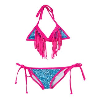Famous Maker Girl's Light Blue Sequin Triangle Bikini with Fuchsia Fringe
