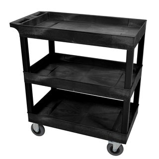 Luxor EC111SP5-B Black 3-tub Cart with SP5 Casters