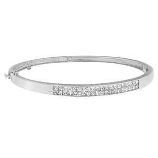 14k White Gold 2 1/10ct TDW Princess-cut Diamond Bangle (H-I,SI1-SI2)