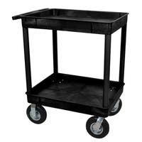 Luxor TC11P8-B Black 2-tub Cart with 8-inch Pneumatic Casters
