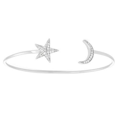 La Preciosa Sterling Silver Star & Moon Open Bangle