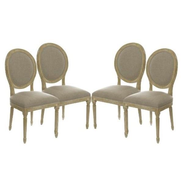 Set of 4 Vintage French Round Upholstered Side Dining Chairs - Shop Set Of 4 Vintage French Round Upholstered Side Dining Chairs