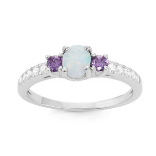 La Preciosa Sterling Silver White Opal & Purple CZ Circle Ring