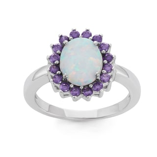 La Preciosa Sterling Silver White Opal & Purple CZ Ring