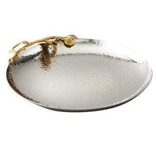 Heim Concept Golden Vine Hammered 10.75-inch Round Tray