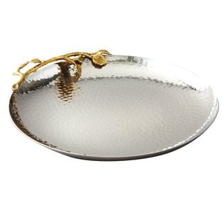 Elegance Golden Vine Hammered 10.75-inch Round Tray