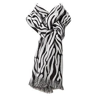 Women's Black and White Safari Print Double Woven Scarf
