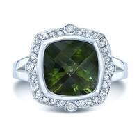 18k White Gold Green Tourmaline 1/3ct TDW Diamond Ring (H-I, SI1-SI2)