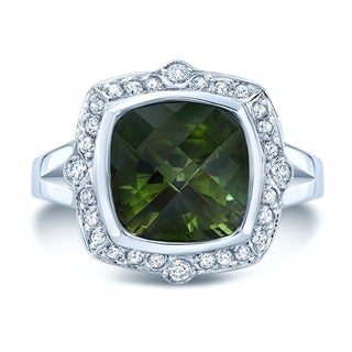 18k White Gold Green Tourmaline 1/3ct TDW Diamond Ring (H-I, SI1-SI2)