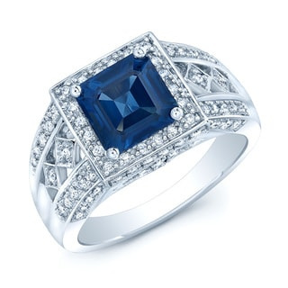 14k White Gold Blue Sapphire and 2/5ct TDW Diamond Ring