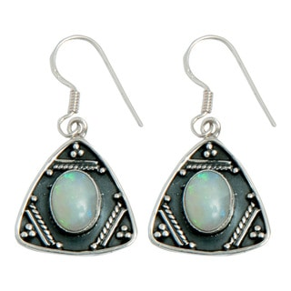Handcrafted Sterling Silver Ethiopian Opal Earrings (India)
