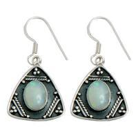 Handmade Sterling Silver Ethiopian Opal Earrings (India)