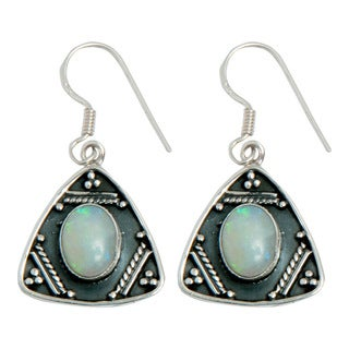 Handmade Sterling Silver Ethiopian Opal Earrings (India)