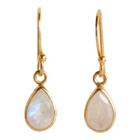 Handmade Gold Overlay Rainbow Moonstone Dangle Earrings (India)