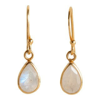 Handmade Gold Overlay Rainbow Moonstone Dangle Earrings (India)