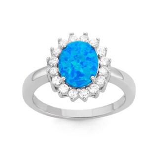 La Preciosa Sterling Silver Blue Opal & CZ Ring