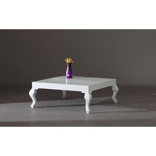 New Modern Contemporary Glossy Lacquer Lukens Coffee Table #7192 in White
