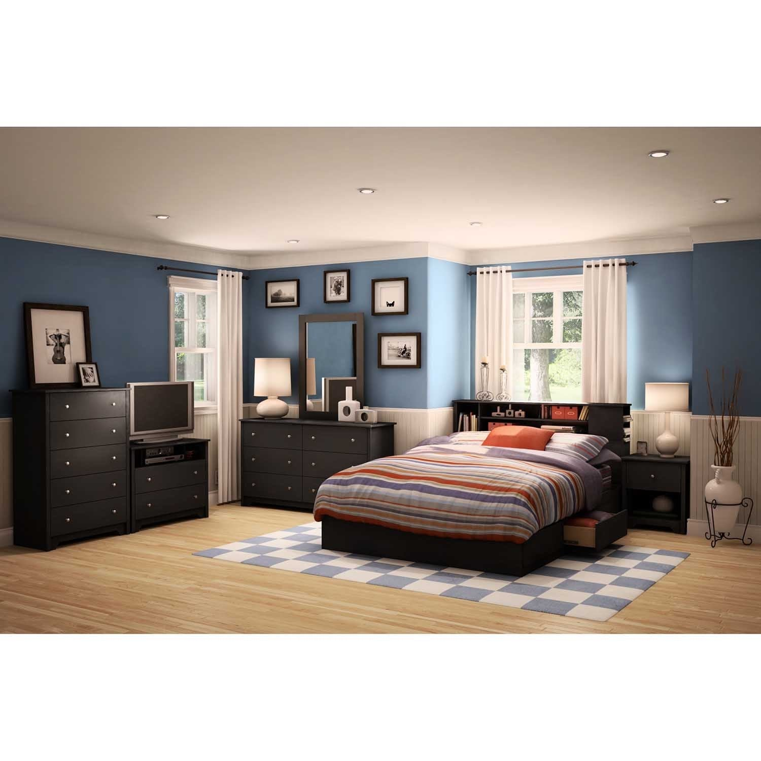 South Shore Vito Queen Mates Bed with Drawers and Bookcase Headboard Set (Vito Queen Bed w/ Headboard in Pure Black)