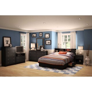 South Shore Vito Queen Mates Bed with Drawers and Bookcase Headboard Set