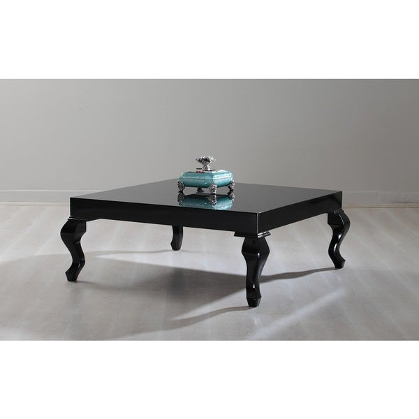 New Modern Contemporary Glossy Lacquer Lukens Coffee Table #7190 in black. Opens flyout.