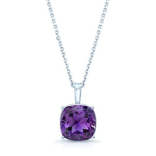 14k White Gold Cushion-cut Amethyst Solitaire Necklace