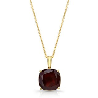14k Yellow Gold Cushion-cut Garnet Solitaire Necklce