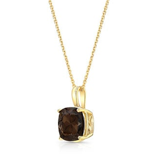 14k Yellow Gold Cushion-cut Smokey Quartz Necklace