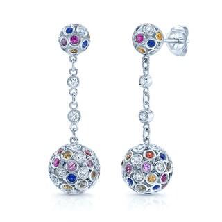 14k White Gold Sapphire and 1/2ct TDW Diamond Earrings (H-I, VS1-VS2)