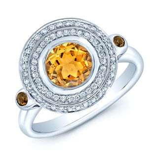 14k White Gold Yellow Citrine and 1/4ct TDW Diamond Ring (H-I, VS1-VS2)
