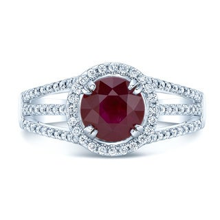 14k White Gold Ruby and 1/2ct TDW Diamond Ring (H-I, SI1-SI2)