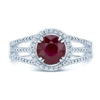 14k White Gold Ruby and 1/2ct TDW Diamond Ring