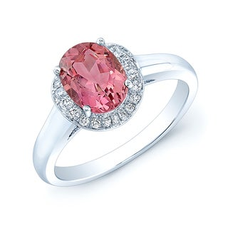 14k White Gold Pink Tourmaline and 1/8ct TDW Diamond Ring (H-I, VS1-VS2)