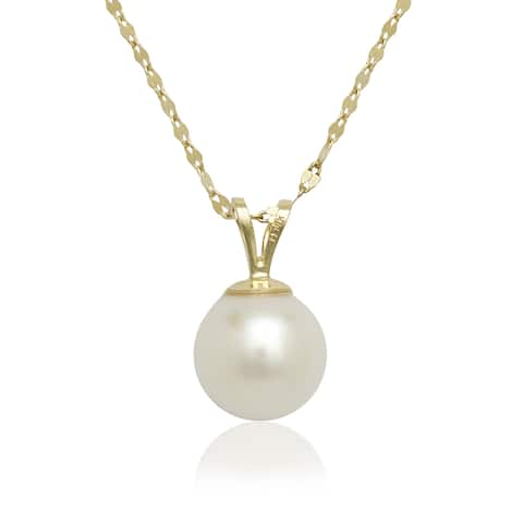 Curata 14K Yellow or White Gold 8mm Freshwater Cultured Pearl Solitaire Pendant (16-inch chain)