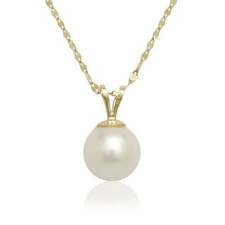Curata 14K Yellow or White Gold 8mm Freshwater Cultured Pearl Solitaire Pendant (16-inch chain) (2 options available)