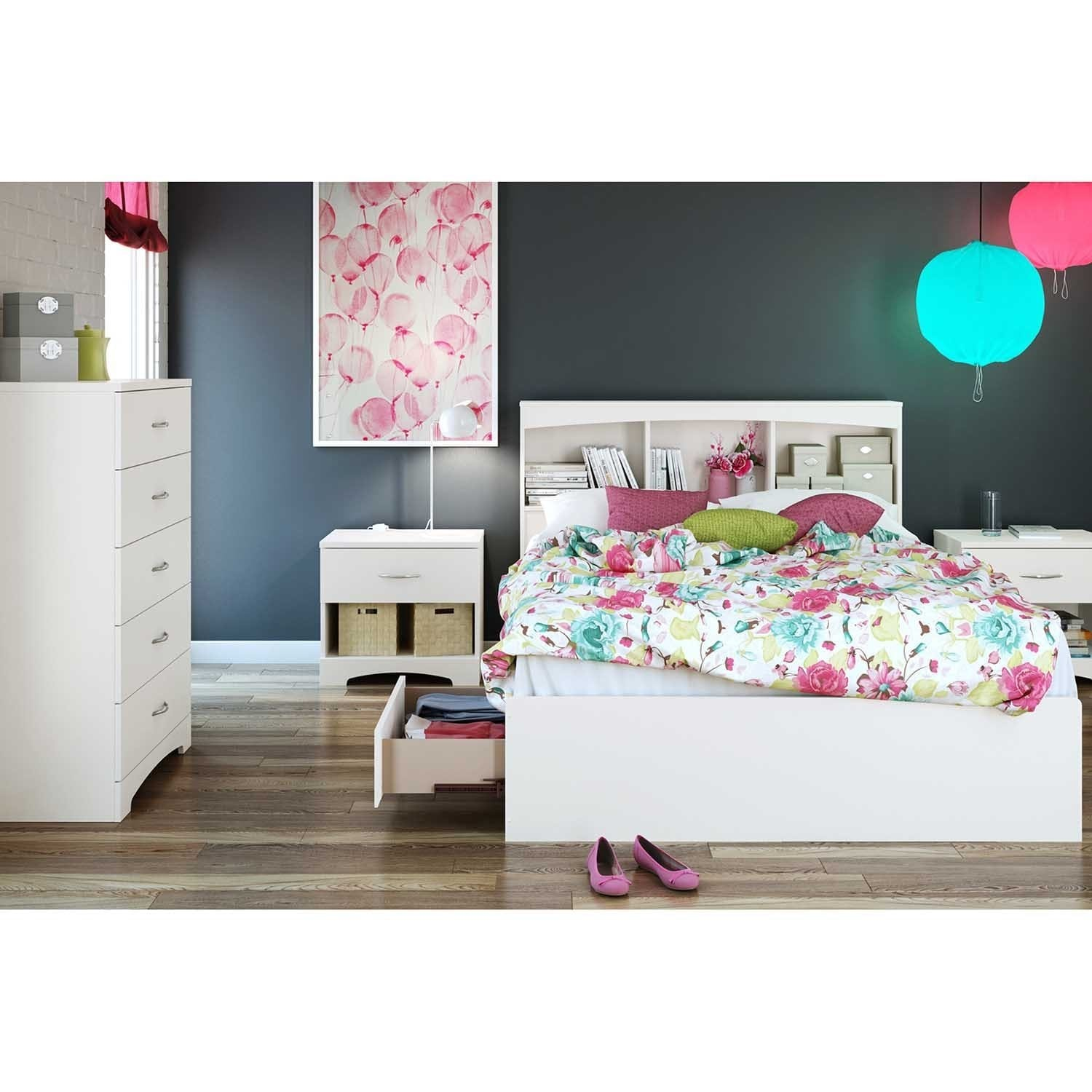 South Shore Step One Full Size Mates Bed Frame With Drawers And Bookcase Headboard Set
