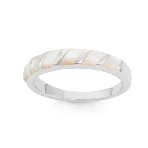La Preciosa Sterling Silver Mother of Pearl Striped Band Ring - White