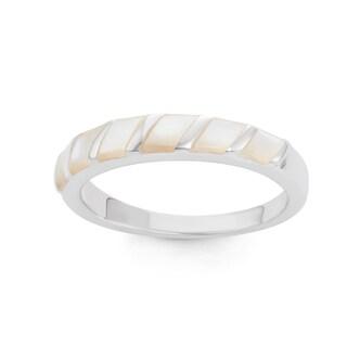 La Preciosa Sterling Silver Mother of Pearl Striped Band Ring