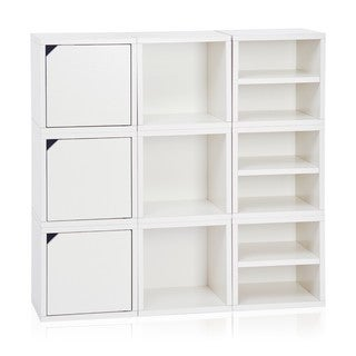 Way Basics Argyle White zBoard Paperboard Eco Stackable Lifetime Guarantee 9-cube Storage System