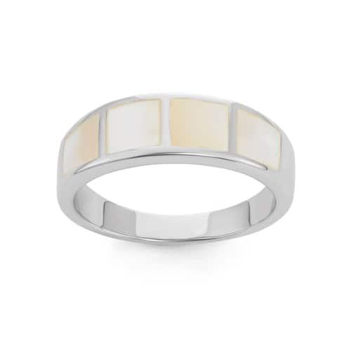 La Preciosa Sterling Silver Mother of Pearl Squares Band Ring