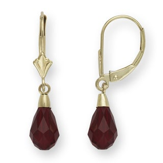 14k Dark Red Austrian Crystal Elements Briolette Crystal Drop Leverback Earrings