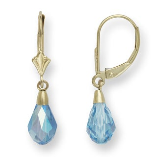 14k Light Blue Elements Briolette Crystal Drop Leverback Earrings