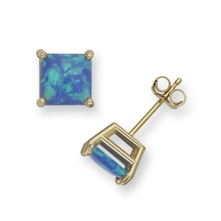14k Yellow Gold 6mm Reconstructed Opal Square Princess Earrings