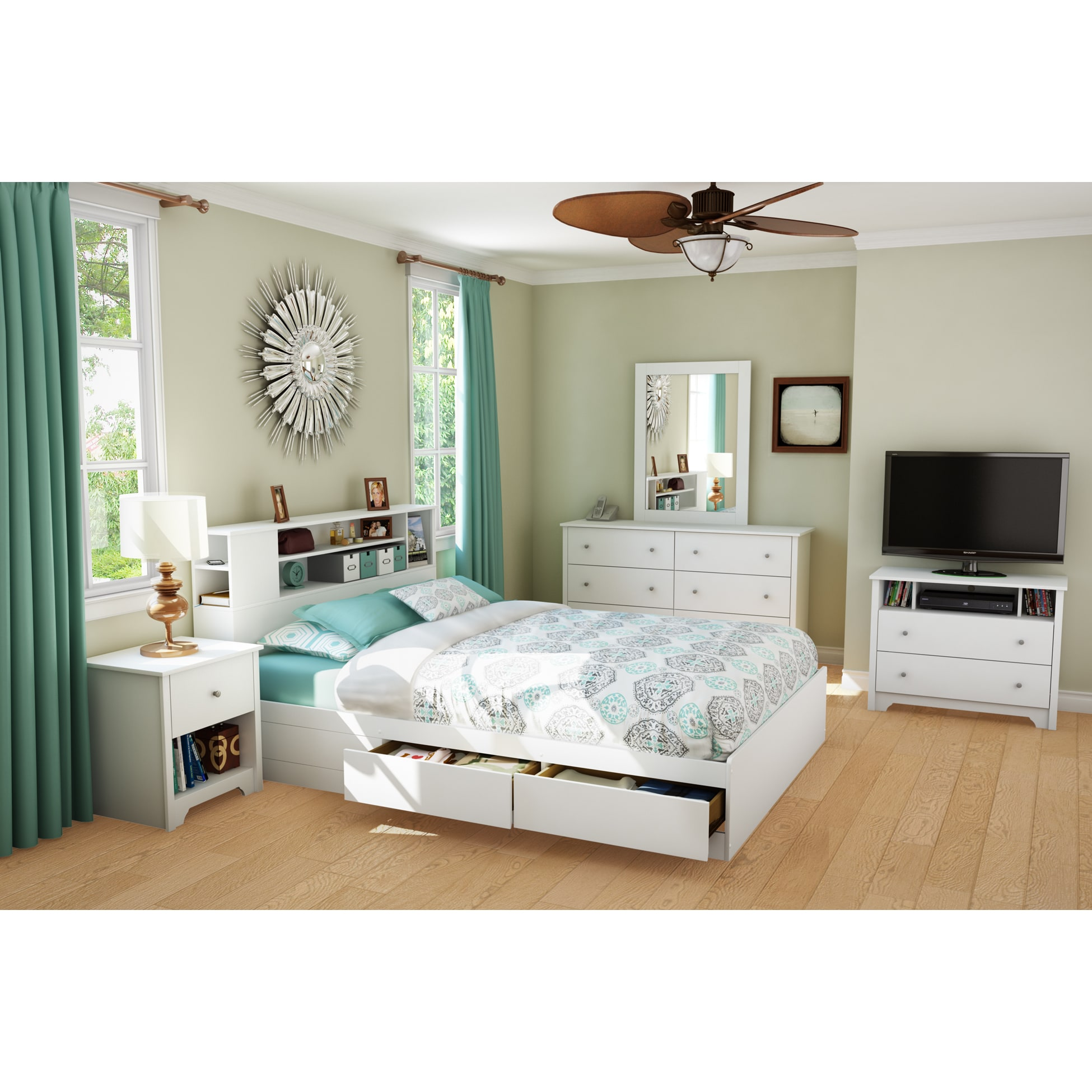 South Shore Vito Queen Mates Bed Frame with Drawers and B...
