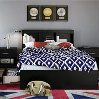 South Shore Step One Full Size Bed Frame with Drawers and Bookcase Headboard Set