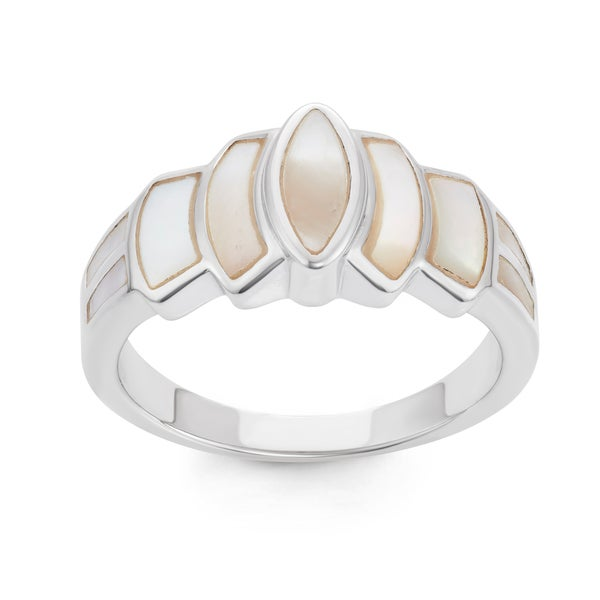 La Preciosa Sterling Silver Mother of Pearl Designed Ring