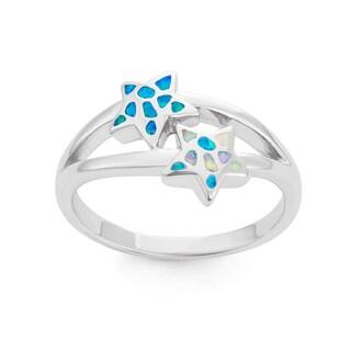 La Preciosa Sterling Silver Opal Double Starfish Ring